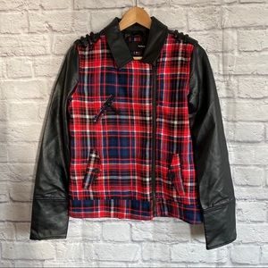 HURLEY Plaid & Faux Leather Jacket